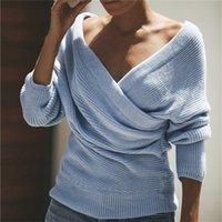 sexy suéteres de cuello v al por mayor-Cuello en V profundo Color sólido Suéteres para mujer Señoras sexy Manga larga Tejidos largos Ropa femenina de invierno