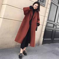 oversize xxl venda por atacado-2018 Outono inverno Novas mulheres Casual mistura de lã trench coat oversize Sólidos Cashmere Casacos Cardigan casaco Longo com cinto S-XXL