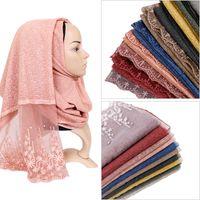 Wholesale beads hijab resale online - Cotton lace hijab scarf maxi stretchy wraps beads bandhnu shawls muslim scarves headband wraps islamic scarves