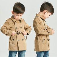 bebek ten kürkleri toptan satış-Bebek Vintage Kadife Ceket Erkek Kız Giysi Tasarımcısı Rüzgar Geçirmez Ceket İngiliz Kruvaze Rüzgarlık Turn-down Yaka Düğmesi Kemer Çocuklar
