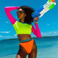 mayo yüzme toptan satış-Kadınlar Renk Engelleme Mayo Set (2 Parça) Plaj Mayo Mayo Külot Mayolar Açık renkli