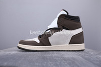 paten ayakkabıları 12 toptan satış-En Kaliteli Yeni Travis sayaç logosu 1 s Yüksek Bir Basketbol ayakkabıları Kahverengi Scott Erkek Tasarımcı Sneakers lüks sneaker 1 Paten Eğitmenler Boyutu 12