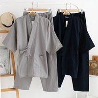 onesies verdes para hombres al por mayor-Qweek otoño pijamas masculinos conjuntos 100% algodón kimono ropa de dormir para hombre pijamas de estilo japonés hombres ropa para el hogar suave 2 piezas de alta calidad MX190724