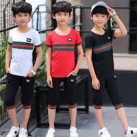 ingrosso vestito nero dei ragazzi 12-T-shirt + pantaloncini sportivi di moda per bambini, abbigliamento sportivo per bambini, t-shirt a righe estive new 8-12 anni