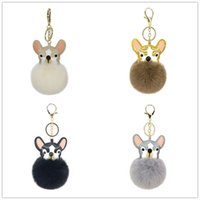 Wholesale leather dog toys for sale - Group buy Lovely Keychains Dog Pu Leather Pompom Balls For Women Trinkets Suspension On Bags Car Key Chain Keyrings Toy Gifts