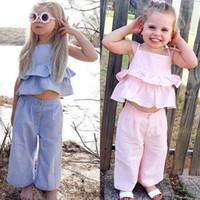 76af11fa6 Wholesale children's boutique clothes resale online - Baby girls outfits  children Stripe Sling vest top pants