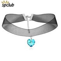 ingrosso gioielli neri di swarovski-Collana con ciondolo a cuore Collana con ciondolo a forma di cristalli Swarovski nero con colletto a catena per le donne