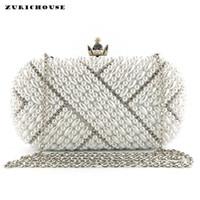 ingrosso frizione in rilievo in perle di perline-ZURICHOUSE Fashion Evening Clutch Bags Women Pearl Beaded Handmade di alta qualità Strass Handbag Ladies Wedding Borsa 2019
