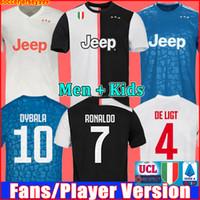 ronaldo jersey al por mayor-Fans Jugador versión Juventus camiseta de fútbol chandal de la 2019 2020 soccer jersey RONALDO DE LIGT 19 20 uniformes RAMSEY DYBALA JUVE campeones liga hombres + kit de niños