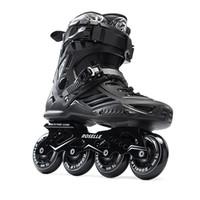 коньки встроенные оптовых-Взрослые мужские профессиональные ботинки Inline Skate Фристайл конькобежские ботинки Роликовые коньки Patins Patines White / Black