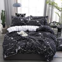Wholesale blue grey bedding set for sale - Group buy bedding set New Geometric duvet cover set flat sheet black bed linen leaf bed AB side home decor grey bedclothes57