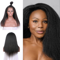 Wholesale unprocessed virgin kinky straight wig resale online - Beautiful Style Kinky Straight Lace Front Wigs inch Natural Black For Black Women Unprocessed Brazilian Human Hair G EASY
