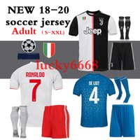 volle kit fußball trikots großhandel-2018 2019 2020 juve Juventus beste Qualität Jersey-Installationssatz volle Sätze + Socken HIGUAIN DYBALA Ronaldo-Fußball Jerseysausgangsfußballhemden Freies Verschiffen