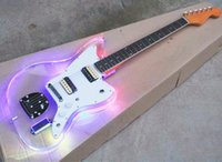 стеклянные электрогитары оптовых-Factory Wholesale Acrylic Glass Electric Guitar with LED Light,Rosewood Fretboard,White Pickguard,Offering Customized Service