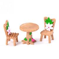 ingrosso piante per giardini fiabeschi-3pcs / set floreale sedie da tavolo in miniatura paesaggio fata giardino casa delle bambole decorazione muschio micro paesaggio pianta succulente ornamento