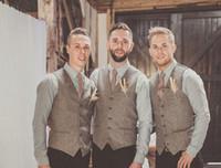 boda chaleco gris al por mayor-2019 alta calidad de lana gris chalecos de tweed para la boda por encargo más el tamaño formal traje de novio chaleco slim fit chaleco para hombre