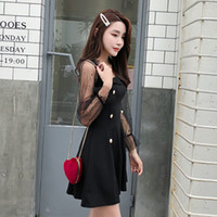 vestido mini mangas abullonadas negro al por mayor-Nuevo otoño Mujeres Vestidos Moda Negro Mini vestido con paneles Una línea de vestidos de cuello de manga Puff cuadrado de manga larga vestido Z2042