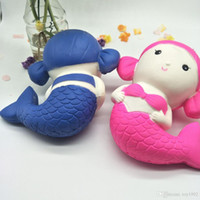 kawaii squishy brot großhandel-Jumbo Kawaii Cartoon Meerjungfrau Squishy Spielzeug Duftbrot Kuchen Super weich langsam steigende Puppe Kind Spielzeug Großhandel 66