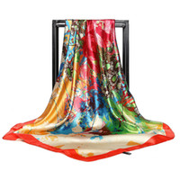 Wholesale large floral painting resale online - Silk Scarf cm New Hand painted Floral Daisy Lady Large Scarf Scarf