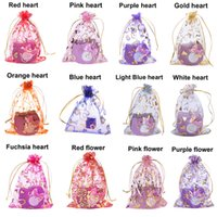 Wholesale organza bags flowers resale online - 10x12cm Organza Bags Organza Drawstring Pouches Gift Jewelry Packing Wedding Bags gold heart and rose flower