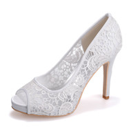 zapato nupcial para la boda al por mayor-6041-01 Free Ship Elegant Vintage White Ivory Pink Black Lace 11cm High Heel Bride Wed Shoe Women Prom Party Boda Nupcial zapatos