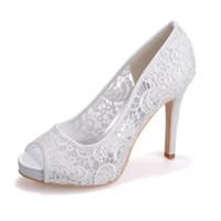 lace wedding shoes achat en gros de-6041-01 Free Ship Élégant Vintage Blanc Ivoire Rose Noir Dentelle 11 cm Talon Haut Mariée Wed Chaussure Femmes Bal De Soirée De Mariage Chaussures De Mariée