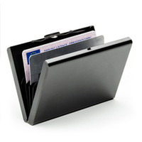 Wholesale fa box online - New Arrival Business Men Stainless Steel Mini Id Credit Card Holder Box Anti scan Women Bank Cards Metal Case Fa Women Bag