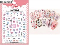 leimspitzen für nägel großhandel-Cartoon Patterns! Nails Art Maniküre Back Glue Decal Dekorationen Design Nail Sticker für Nägel Tipps Beauty