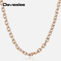 Wholesale 2mm rolo chain resale online - Davieslee Thin Rolo Cable Chain Necklace For Women Rose Gold Womens Necklaces Dropshipping Jewelry Elegant Gifts mm LCN14