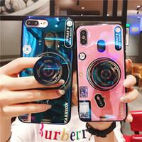 blu abdeckung fall großhandel-Blu-ray kamera ständer telefon case für iphone 6s 6 7 8 x xs max plus silikon nette kameraständer halter abdeckung für iphone x xr 6 7 8 plus