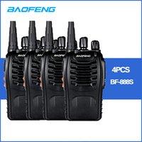 transceptor 3km al por mayor-4 unids / lote BAOFENG BF-888S Walkie talkie UHF Radio bidireccional baofeng 888s UHF 400-470MHz 16CH Transceptor portátil con auricular