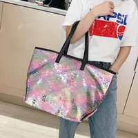 Wholesale sale sequin bags for sale - Group buy GOUSTER Colorful Sequin Beach Handbag Women Simple Shoulder bag Hot Sale Crystal Tote Female High capacity Shopping Bag