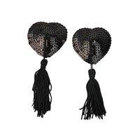 almofadas de peito preto venda por atacado-Par Adhesive Breast Pasties Lantejoulas Mamilo Adesivos Capa Lave Heart Tassel Breast Corretivo Pad para Mulheres (Black)
