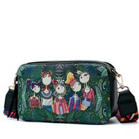 Wholesale forest green handbag resale online - Women Bag Brand Design Handbag Green Forest Series Shoulder Bags Small Handbags Cartoon Print Messenger Bags Ladies
