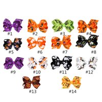 Wholesale shabby chic hair accessories resale online - 8 cm Headband Halloween Girls Headwear shabby chic Hair Bow Hallowmas Pumpkin Skull Hairbands Children Hair Accessories