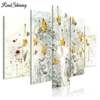 Wholesale autumn tree paintings resale online - 5 panel Multi pictures Autumn Leaves Tree d diy Diamond painting full Square round Drill Diamond Embroidery cross stitch FS3837