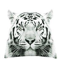 fundas de almohada de impresión de tigre al por mayor-4 Unids / set León y Tigre Animal Print Cuadrado Funda de Almohada Poliéster Fibra Cojín Sofá Funda de cojín Decoración Del Hogar 45x45cm L614