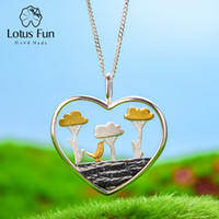 Wholesale lotus flower tree resale online - Lotus Fun Real Sterling Silver Natural Creative Handmade Fine Jewelry Planting Trees of Clouds Pendant without Necklace