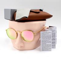 ters camlar toptan satış-Yeni yüksek kalite moda retro tasarımcı erkek bayan marka güneş gözlüğü altın çerçeve kahverengi 50mm cam lens UV400 ...