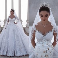 Wholesale lace wedding dresses sexy fitted for sale - Group buy 2020 Luxury Beaded Arabic A Line Long Sleeves Wedding Dresses Lace Tulle D Appliques Sequins Fitted Bridal Gowns Plus Size