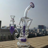 Wholesale 2018 Pink Purple Double Recycler Bong Inch Fab Egg Heady Glass Oil Dab Rigs Turbine Perc Percolator Water Pipes Wax Dabber Bongs