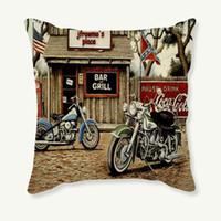 Wholesale vintage car pillow resale online - 45x45cm Pillowcase Vintage Motorcycle Decorative Cushion Cover Retro Pillow Case Sofa Car Linen Cotton Cushion Cover Home Decor