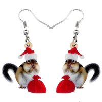 Wholesale animal pendent jewelry resale online - Acrylic Christmas Sweet Squirrel Gift Bag Earrings Animal Pendent Jewelry Women Girl Kids Festival Decoration Charm Gift
