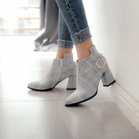 Wholesale british style pointed toe boots for sale - Group buy Concise Plaid women s boots autumn winter British style Pointed Stripe ankle boots for women Zipper Short High Heel Shoes