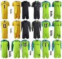 kits de futebol verde amarelo venda por atacado-Guarda-redes GK Juventude Arrizabalaga Jersey Set 2019 2020 Crianças Goleiro de Futebol 13 CABALLERO 31 VERDE Verde Amarelo Camisa De Futebol Kits Uniforme
