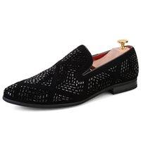 elmas yapay elmas düğün ayakkabıları toptan satış-Yeni Lüks Rhinestone Erkekler Loafer'lar El Yapımı Deri Sivri Burun Düğün Ayakkabı Moda Rahat erkek Elbise Ayakkabı Büyük boy 38-48