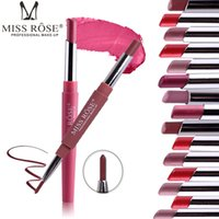 Wholesale light purple lipstick online - Miss Rose Matte Lipstick In Waterproof Lipliner Batom Mate Lip Stick Pencil Sexy Red Lips Tint Contour Makeup Lasting Rouge