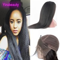 Wholesale yaki human hair lace front wigs resale online - Peruvian Unprocessed Human Hair Kinky Straight Yaki X4 Lace Front Wig inch Kinky Straight Hair Products Lace Front Wigs Natural Color