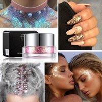 jel tırnak makası toptan satış-Pudaier 34 Renk Glitter Göz Farı Sequins Jel Sparkly Göz Makyajı Parlak Vücut Sequins Çiviler Sanat DIY Gölge Palet