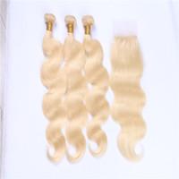 bakire brezilya saçlı bal sarışın toptan satış-Brezilyalı Vücut Dalga Kapatma Ile 613 Sarışın İnsan Saç Demetleri Bal Platin Sarışın Bakire Saç İnsan Saç Örgüleri 3 demetleri